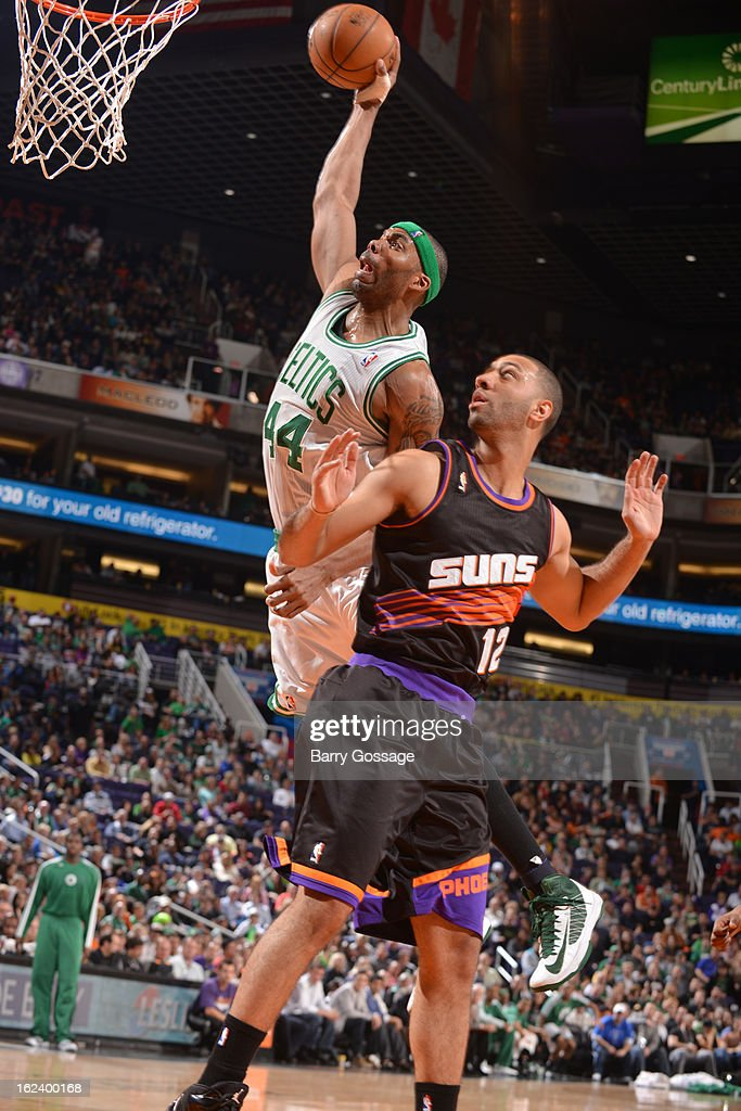 <a gi-track='captionPersonalityLinkClicked' href=/galleries/search?phrase=Chris+Wilcox&family=editorial&specificpeople=202038 ng-click='$event.stopPropagation()'>Chris Wilcox</a> #44 of the Boston Celtics dunks against <a gi-track='captionPersonalityLinkClicked' href=/galleries/search?phrase=Kendall+Marshall&family=editorial&specificpeople=6783056 ng-click='$event.stopPropagation()'>Kendall Marshall</a> #12 of the Phoenix Suns on February 22, 2013 at U.S. Airways Center in Phoenix, Arizona.
