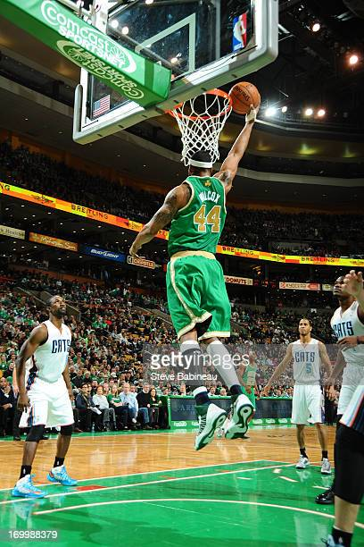 Chris Wilcox of the Boston Celtics dunks against the Charlotte Bobcats on March 16 2013 at the TD Garden in Boston Massachusetts NOTE TO USER User...