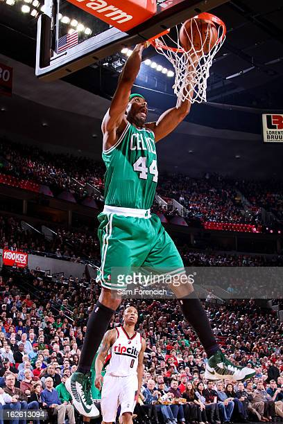 Chris Wilcox of the Boston Celtics dunks against the Portland Trail Blazers on February 24 2013 at the Rose Garden Arena in Portland Oregon NOTE TO...