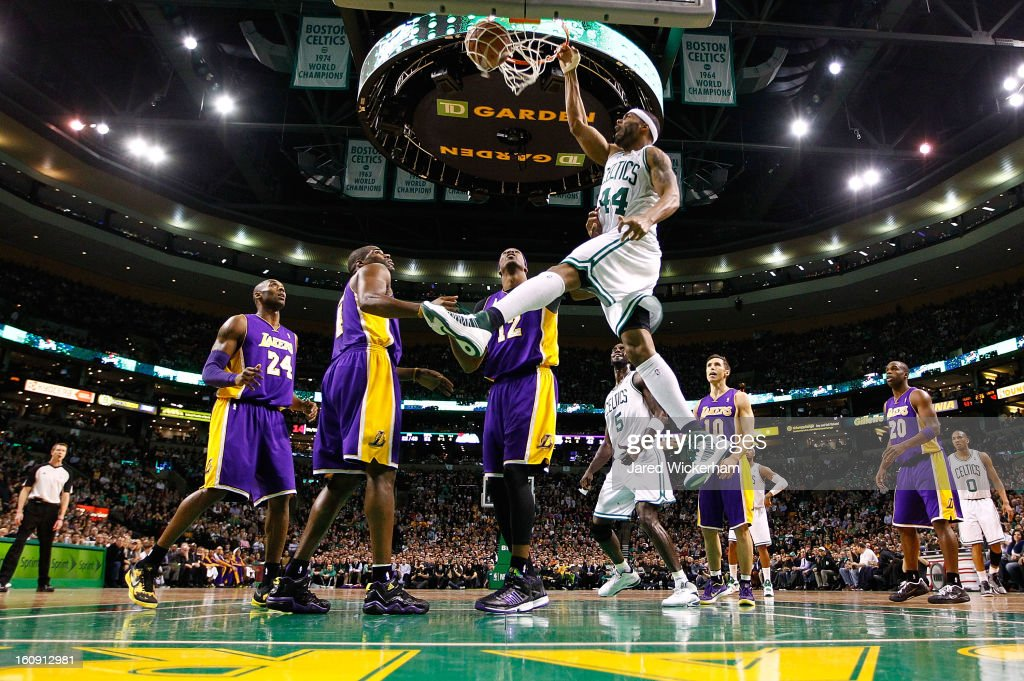 <a gi-track='captionPersonalityLinkClicked' href=/galleries/search?phrase=Chris+Wilcox&family=editorial&specificpeople=202038 ng-click='$event.stopPropagation()'>Chris Wilcox</a> #44 of the Boston Celtics dunks the ball against the Los Angeles Lakers during the game on February 7, 2013 at TD Garden in Boston, Massachusetts.