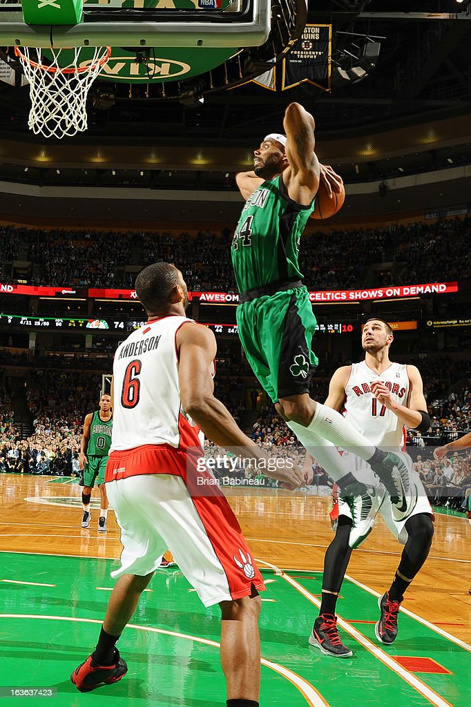 <a gi-track='captionPersonalityLinkClicked' href=/galleries/search?phrase=Chris+Wilcox&family=editorial&specificpeople=202038 ng-click='$event.stopPropagation()'>Chris Wilcox</a> #44 of the Boston Celtics dunks the ball against the Toronto Raptors on March 13, 2013 at the TD Garden in Boston, Massachusetts.