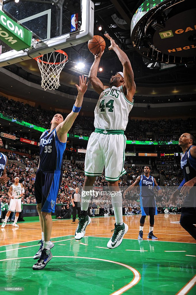 Chris Wilcox #44 of the Boston Celtics grabsa rebound against the Dallas Mavericks on December 12, 2012 at the TD Garden in Boston, Massachusetts.