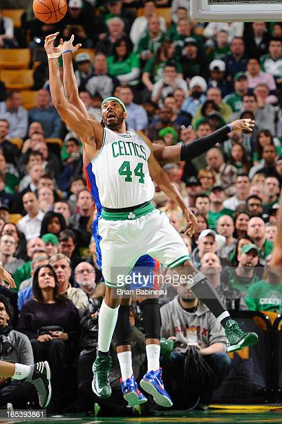 Chris Wilcox of the Boston Celtics jumps up for the rebound against the Detroit Pistons on April 3 2013 at the TD Garden in Boston Massachusetts NOTE...