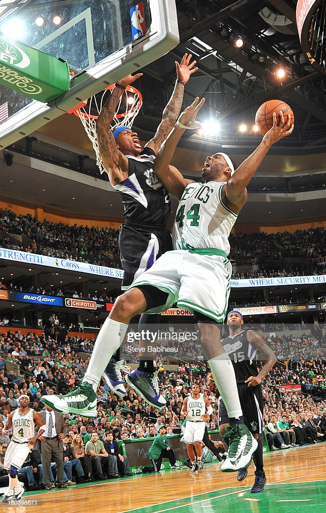 Chris Wilcox #44 of the Boston Celtics jumps up to shoot the ball against the Sacramento Kings on January 30, 2013 at the TD Garden in Boston, Massachusetts.