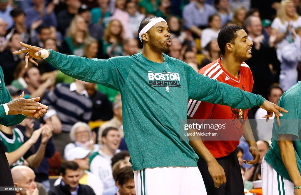 <a gi-track='captionPersonalityLinkClicked' href=/galleries/search?phrase=Chris+Wilcox&family=editorial&specificpeople=202038 ng-click='$event.stopPropagation()'>Chris Wilcox</a> #44 of the Boston Celtics reacts to a basket on the bench against the Chicago Bulls during the game on February 13, 2013 at TD Garden in Boston, Massachusetts.