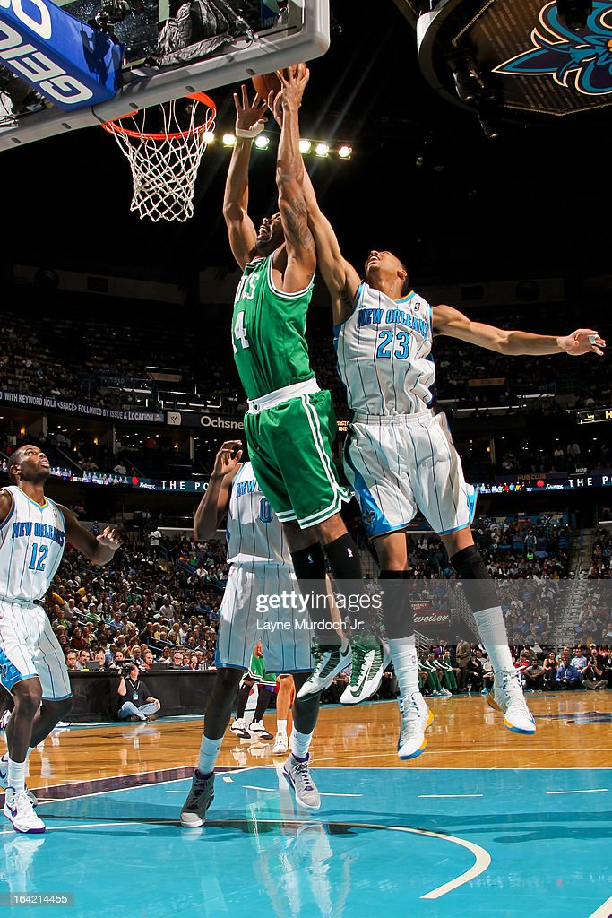 Chris Wilcox #44 of the Boston Celtics rises for a dunk against Anthony Davis #23 of the New Orleans Hornets on March 20, 2013 at the New Orleans Arena in New Orleans, Louisiana.