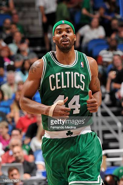 Chris Wilcox of the Boston Celtics runs up the court against the Orlando Magic during the game on April 13 2013 at Amway Center in Orlando Florida...