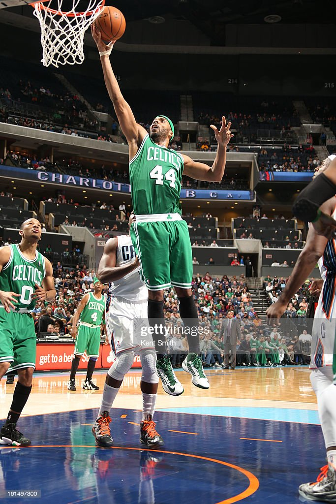 Chris Wilcox #44 of the Boston Celtics shoots a layup against the Charlotte Bobcats at the Time Warner Cable Arena on February 11, 2013 in Charlotte, North Carolina.