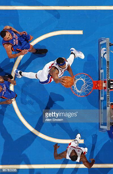 Chris Wilcox of the Detroit Pistons dunks during the game against the New York Knicks at the Palace of Auburn Hills on December 29 2009 in Auburn...