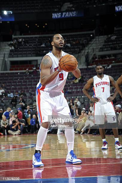 Chris Wilcox of the Detroit Pistons prepares to shoot a free throw against the Cleveland Cavaliers in a game on April 11 2011 at The Palace of Auburn...