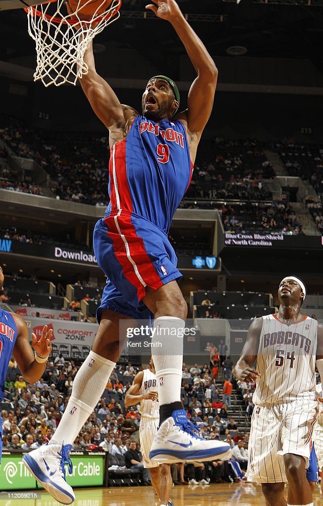 <a gi-track='captionPersonalityLinkClicked' href=/galleries/search?phrase=Chris+Wilcox&family=editorial&specificpeople=202038 ng-click='$event.stopPropagation()'>Chris Wilcox</a> #9 of the Detroit Pistons puts down a dunk against the Charlotte Bobcats on April 10, 2011 at Time Warner Cable Arena on the practice court in Charlotte, North Carolina.
