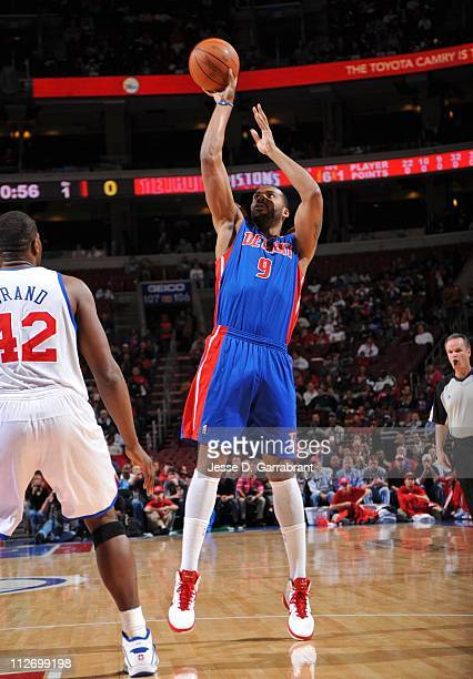 Chris Wilcox of the Detroit Pistons shoots the ball during a game against the Philadelphia 76ers on April 13 2011 at the Wells Fargo Center in...