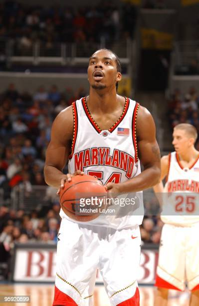 Chris Wilcox of the Maryland Terrapins takes a foul shot during the BBT Classic Basketball Tournament against the Connecticut Huskies on December 3...