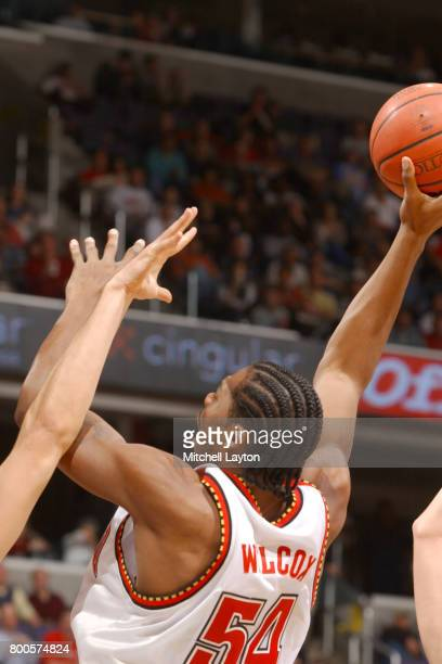 Chris Wilcox of the Maryland Terrapins takes a shot during the BBT College Basketball Classic game against the Princeton Tigers at MCI Center on...