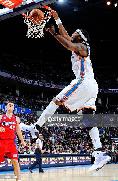 Chris Wilcox of the Oklahoma City Thunder slam dunks the ball during a game against the Los Angeles Clippers at the Ford Center December 16 2008 in...