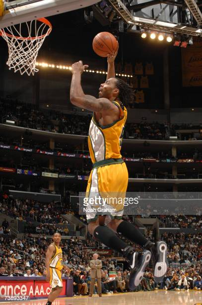 Chris Wilcox of the Seattle Supersonics dunks against the Los Angeles Lakers on April 15 2007 at Staples Center in Los Angeles California NOTE TO...
