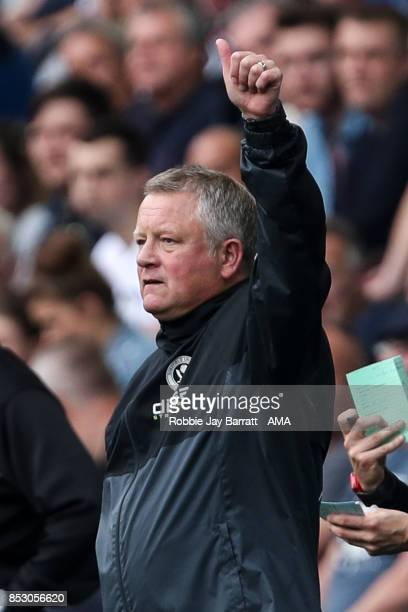 Chris Wilder head coach / manager of Sheffield United acknowledges the Sheffield United fans during the Sky Bet Championship match between Sheffield...