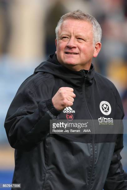 Chris Wilder head coach / manager of Sheffield United celebrates at full time during the Sky Bet Championship match between Sheffield Wednesday and...