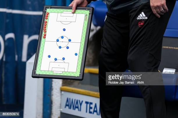 Chris Wilder head coach / manager of Sheffield United holds his tactics board during the Sky Bet Championship match between Sheffield Wednesday and...