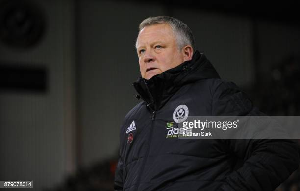 Chris Wilder manager of Sheffield United City looks on during the Sky Bet Championship match between Sheffield United and Birmingham City at Bramall...