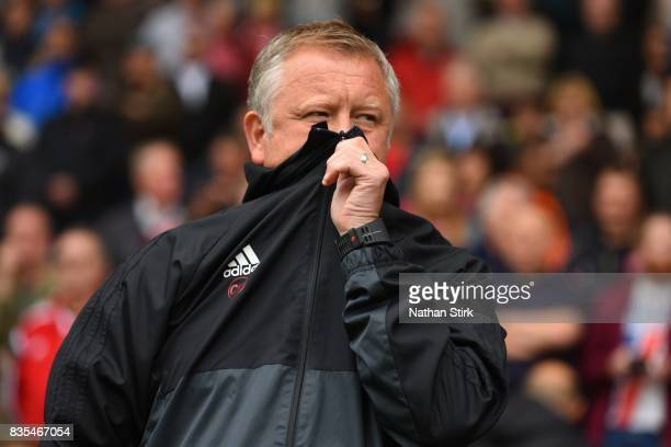 Chris Wilder manager of Sheffield United looks on during the Sky Bet Championship match between Sheffield United and Barnsley at Bramall Lane on...