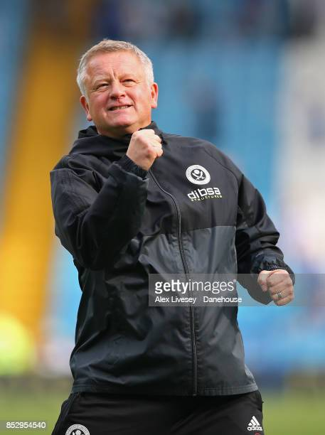 Chris Wilder the manager of Sheffield United celebrates after the Sky Bet Championship match between Sheffield Wednesday and Sheffield United at...