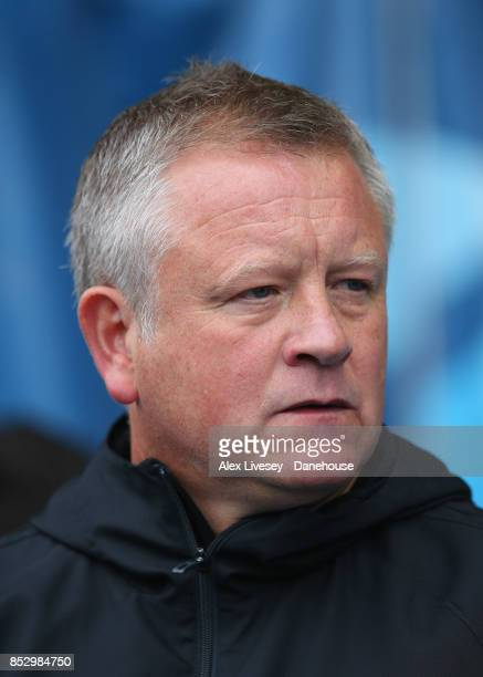 Chris Wilder the manager of Sheffield United looks on during the Sky Bet Championship match between Sheffield Wednesday and Sheffield United at...