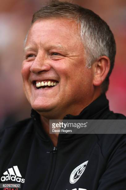 Chris Wilder the Sheffield United manager looks on during the pre season friendly match between Sheffield United and Stoke City at Bramall Lane on...