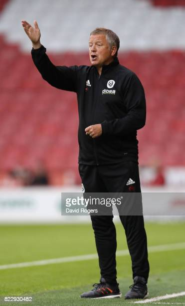 Chris Wilder the Sheffield United manager shouts instructions during the pre season friendly match between Sheffield United and Stoke City at Bramall...