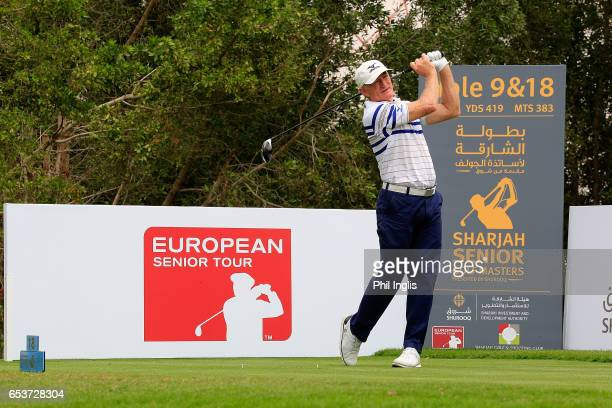 Chris Williams of South Africa in action during the first round of the Sharjah Senior Golf Masters at Sharjah Golf Shooting Club on March 16 2017 in...