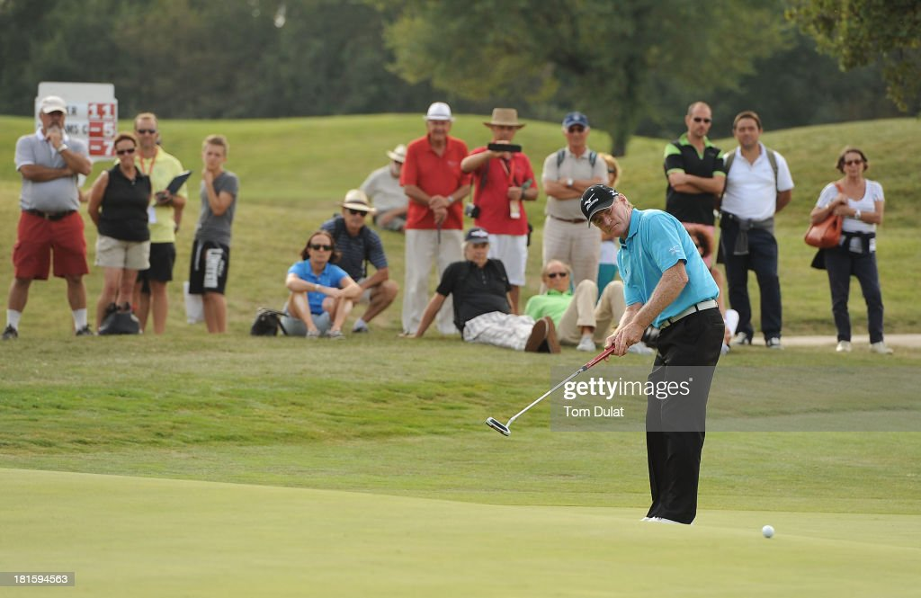 Chris Williams of South Africa makes a putt on the 13th green during the final round of the French Riviera Masters played over the Chateau Course, Terre Blanche Resort on September 22, 2013 in Provencheres-sur-Fave, France.