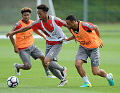 Chris Willock and Francis Coquelin of Arsenal during a training session at London Colney on July 21 2016 in St Albans England
