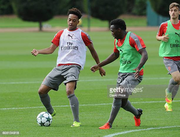 Chris Willock and Tolaji Bola of Arsenal during the Arsenal UEFA Youth League Training Session at London Colney on September 12 2016 in St Albans...