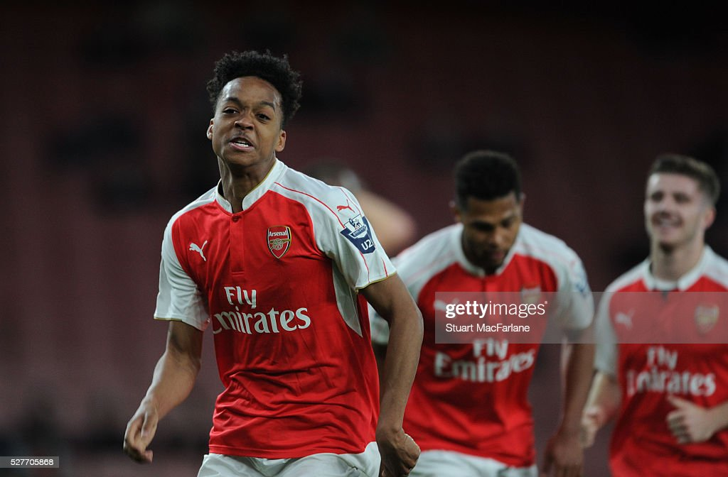Chris Willock celebrates scoring the 2nd Arsenal goal during the Barclays U21 Premier League match between Arsenal and Blackburn Rovers at Emirates Stadium on May 3, 2016 in London, England.