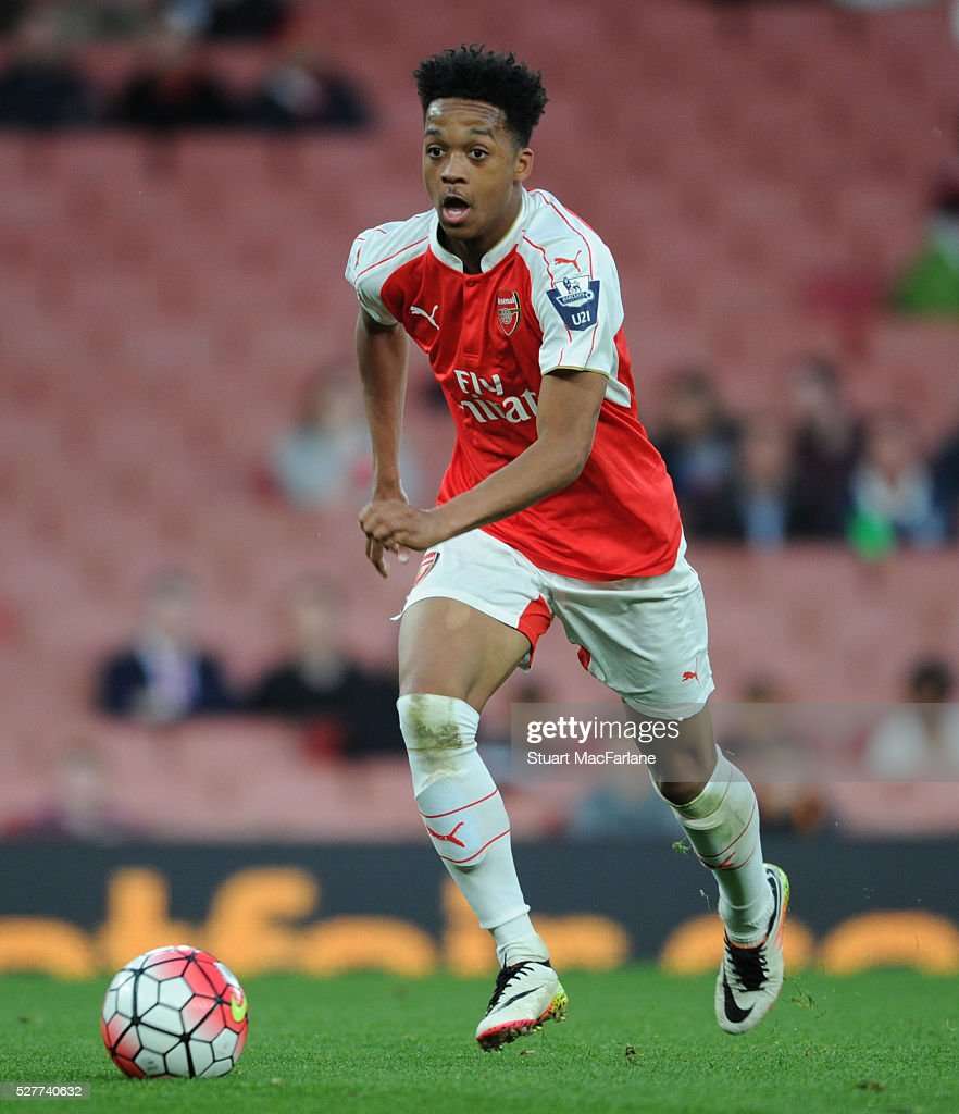 Chris Willock of Arsenal during the Barclays U21 Premier League match between Arsenal and Blackburn Rovers at Emirates Stadium on May 3, 2016 in London, England.
