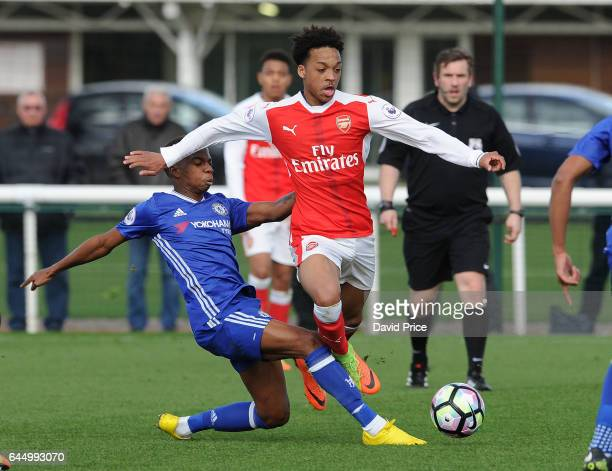 Chris Willock of Arsenal takes on Charly Musonda of Chelsea during the match between Arsenal U23 and Chelsea U23 at London Colney on February 24 2017...