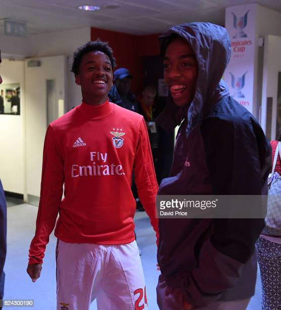 Chris Willock of Benfica and Joe Willock of Arsenal before the match between Arsenal and SL Benfica at Emirates Stadium on July 29 2017 in London...