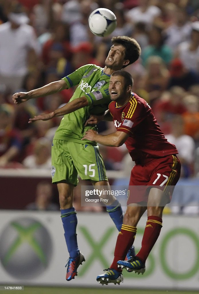 Chris Wingert #17 of Real Salt Lake <a gi-track='captionPersonalityLinkClicked' href=/galleries/search?phrase=Alvaro+Fernandez&family=editorial&specificpeople=2946918 ng-click='$event.stopPropagation()'>Alvaro Fernandez</a> #15 of the Seattle Sounders fight for the ball during the second half of an MLS soccer game July 4, 2012 at Rio Tinto Stadium in Sandy, Utah. Real Salt Lake and the Seattle sounders tied 0-0.