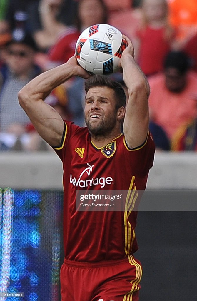 Chris Wingert #16 of Real Salt Lake throws the ball in play during he first half of their 2-1 win over Seattle Sounders FC at Rio Tinto Stadium on March 12, 2016 in Sandy, Utah.