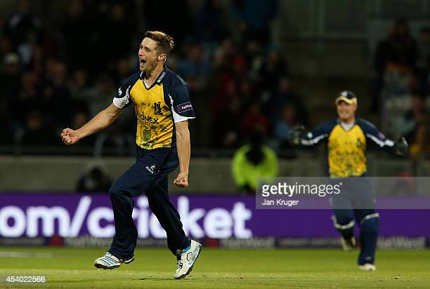 Chris Woakes of Birmingham Bears celebrates victory during the Natwest T20 Blast Final match between Birmingham Bears and Lancashire Lightning at...