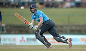Chris Woakes of England bats during the 6th One Day International match between Sri Lanka and England at Pallekele Cricket Stadium on December 13...