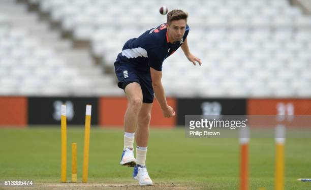 Chris Woakes of England bowls during a training session before the 2nd Investec Test match between England and South Africa at Trent Bridge cricket...