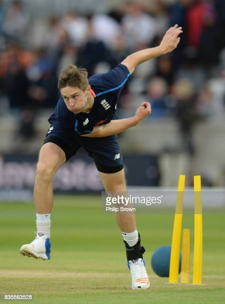 Chris Woakes of England bowls during the tea break on the third day of the 1st Investec Test match between England and the West Indies at Edgbaston...