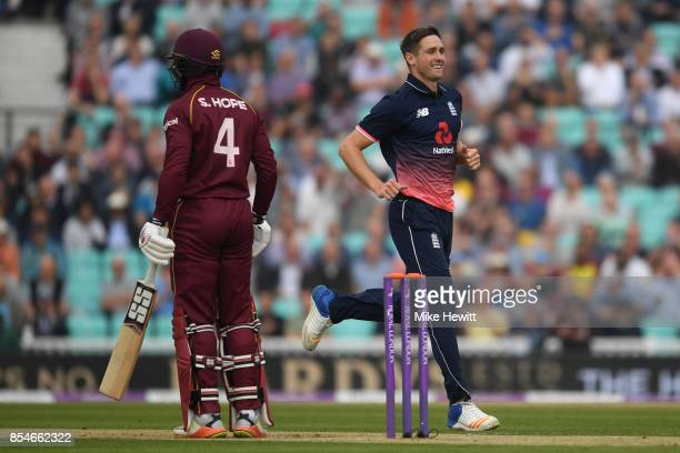 Chris Woakes of England celebates after dismissing Kyle Hope of West Indies during the 4th Royal London One Day International between England and...