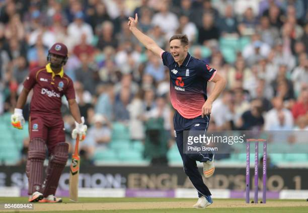 Chris Woakes of England celebrates after dismissing Shai Hope of the West Indies during the 4th Royal London oneday international cricket match...