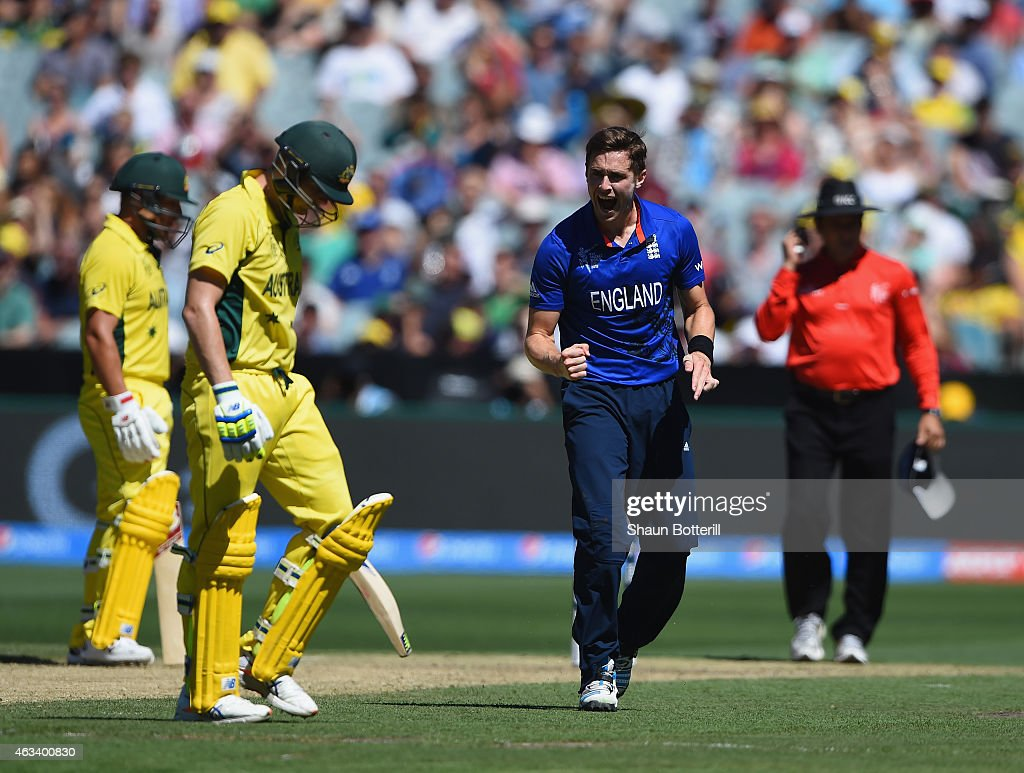 <a gi-track='captionPersonalityLinkClicked' href=/galleries/search?phrase=Chris+Woakes&family=editorial&specificpeople=4444585 ng-click='$event.stopPropagation()'>Chris Woakes</a> of England celebrates after taking the wicket of Steve Smith of Australia during the 2015 ICC Cricket World Cup match between England and Australia at Melbourne Cricket Ground on February 14, 2015 in Melbourne, Australia.