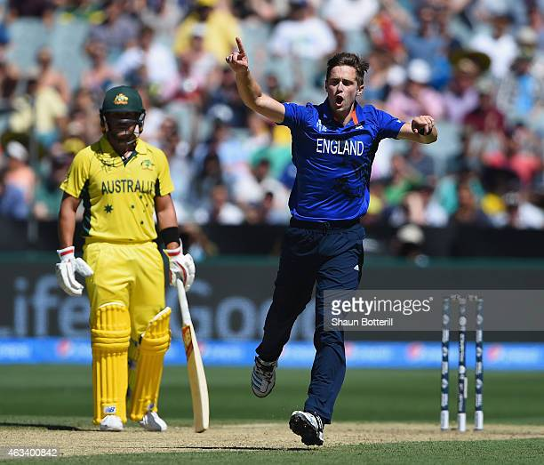Chris Woakes of England celebrates after taking the wicket of Steve Smith of Australia during the 2015 ICC Cricket World Cup match between England...