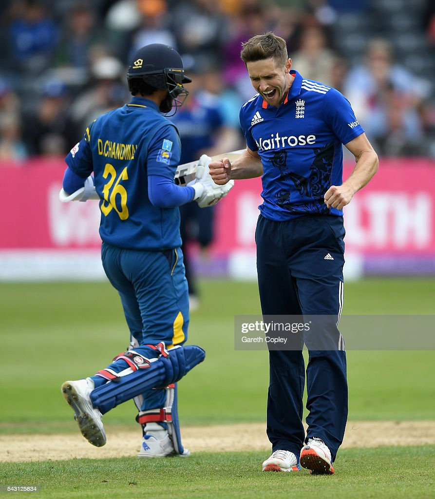 <a gi-track='captionPersonalityLinkClicked' href=/galleries/search?phrase=Chris+Woakes&family=editorial&specificpeople=4444585 ng-click='$event.stopPropagation()'>Chris Woakes</a> of England celebrates dismissing Dinesh Chandimal of Sri Lanka during the 3rd ODI Royal London One Day International match between England and Sri Lanka at The County Ground on June 26, 2016 in Bristol, England.