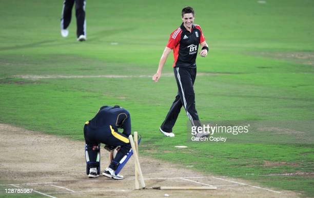 Chris Woakes of England celebrates dismissing Ibrahim Khaleel of Hyderabad Cricket Association XI during the tour match between England and Hyderabad...