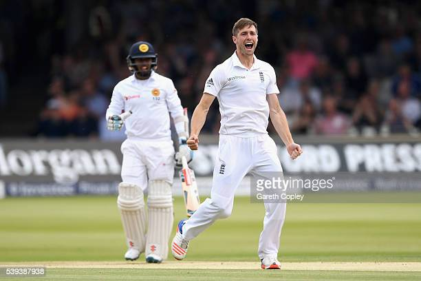 Chris Woakes of England celebrates dismissing Kusal Mendis of Sri Lanka during day three of the 3rd Investec Test match between England and Sri Lanka...